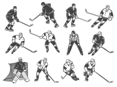 Ice hockey players , vector characters. Ice hockey referee and goalkeeper, forward, winger and defender with puck and stick in motion Foto de archivo - 137777244