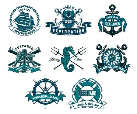 Heraldic ship anchor and helm vector icons, captain spyglass and frigate sailboat, aqualung and lifeguard buoy, seahorse and trident. Diving club, sea and ocean exploration adventure nautical icons Vetores