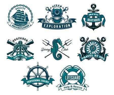 Heraldyczne ikony wektora kotwicy i steru statku, luneta kapitana i żaglówka fregaty, boja akwalung i ratownik, konik morski i trójząb. Klub nurkowy, ikony morskiej przygody w eksploracji morza i oceanu Ilustracje wektorowe