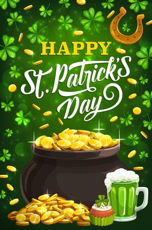Happy Patricks day, Irish holiday celebration traditional symbols. Vector leprechaun gold coins pot and golden horseshoe, cake and green shamrock clover background Archivio Fotografico - 137944998