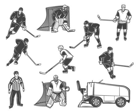 Ice hockey sport vector objects. Players and referee with pucks, sticks and skates, goalies, gates and uniform helmets, mask, goaltender gloves, leg and shoulder pads, ice rink machine