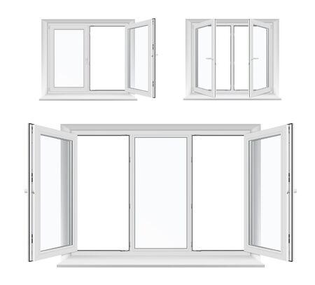 Okna z otwieranymi skrzydłami, białe ramy plastikowe, parapety i szyby, architektura i aranżacja wnętrz. Realistyczne okna 3d z profili PCV, metalowych lub aluminiowych, klamki blokujące