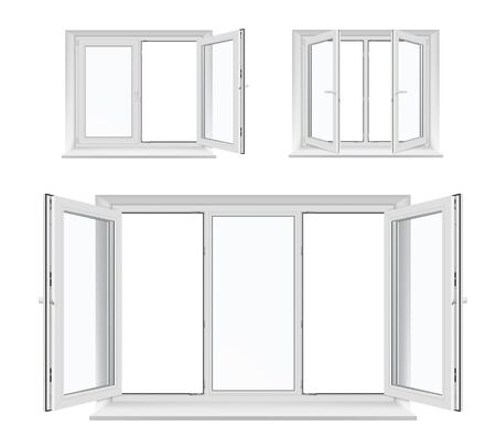 Windows with opened casements, vector white plastic frames, sills and glass panes, architecture and interior design. Realistic 3d windows with PVC, metal or aluminum profiles, locking handles 向量圖像