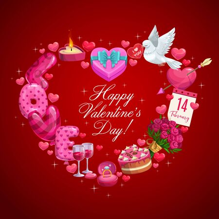 Corazón de regalos de vacaciones del día de San Valentín, tarjeta de felicitación de vector. Pastel de chocolate, globos y anillo de oro, ramo de flores con lazo de cinta, calendario, vino, pájaro paloma y vela