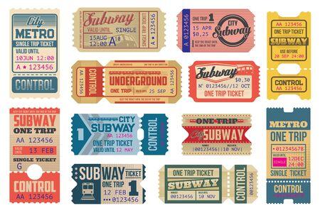 Modèles vectoriels de billets vintage souterrains, rame de métro et chemins de fer électriques. Cartes rétro de transport souterrain ou coupons de voyage avec des lignes coupées. Isolé sur blanc