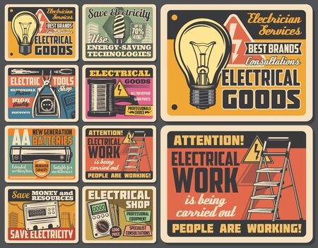 Electrician works service, electric tools and electrical equipment shop vintage posters. Vector electricity repair service, warning sign and light bulb, battery, fuse and voltmeter