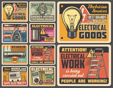 Servicio de trabajos de electricista, tienda de herramientas eléctricas y equipos eléctricos, carteles antiguos. Servicio de reparación de electricidad de vector, señal de advertencia y bombilla, batería, fusible y voltímetro
