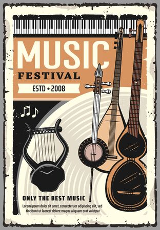 Live music festival, folk sound band concert hall performance poster. Vector music instruments, piano synthesizer, electric harp and folk guitars, Japanese shamisen and mandolin, bouzouki and sitar Ilustrace