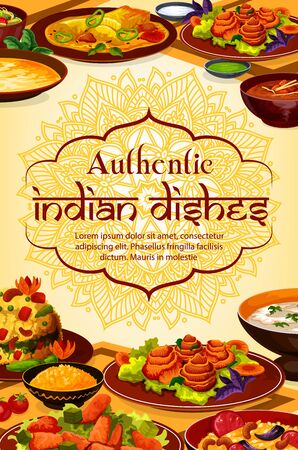 Indian cuisine food, authentic dishes and meals, India traditional restaurant menu. Vector Indian curry rice, tandoori food and masala spices, vegetarian vegetables, rice, meat and fish Çizim