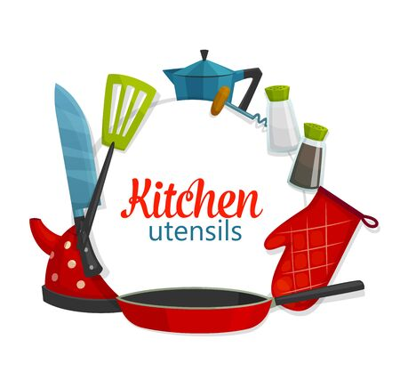 Kitchenware utensils, cooking items and cookware. Vector tea pot, frying pan with spatula and cutlery knife, cook glove and coffeemaker, salt or pepper shaker and corkscrew, cooking school poster
