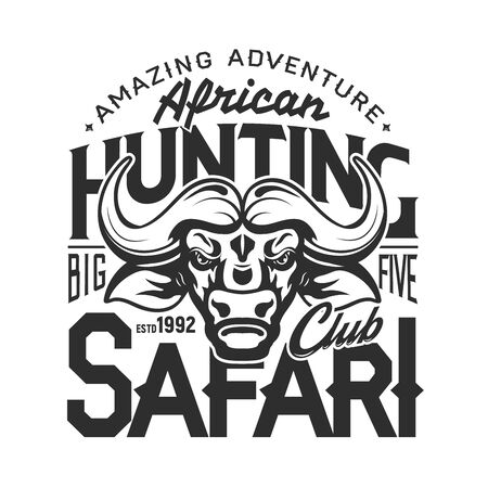 Buffalo hunter club badge, African safari hunting open season icon and t-shirt print template. Vector buffalo bull trophy, wild animal hunt amazing adventure, premium stars club Reklamní fotografie - 137945010