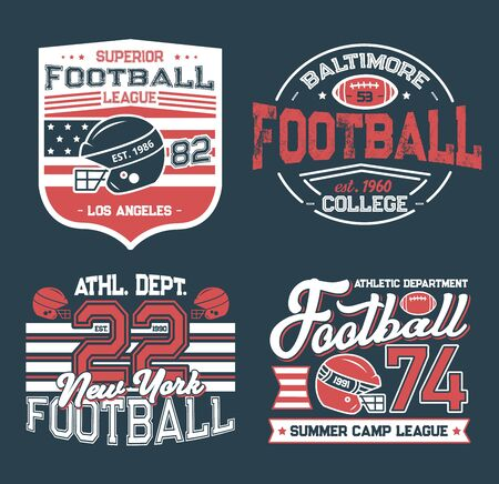 Football league retro grunge t-shirt prints. Vector college club, summer camp league. Soccer club football championship cup, sport team league. Athletic department and american flag, hobby sport game