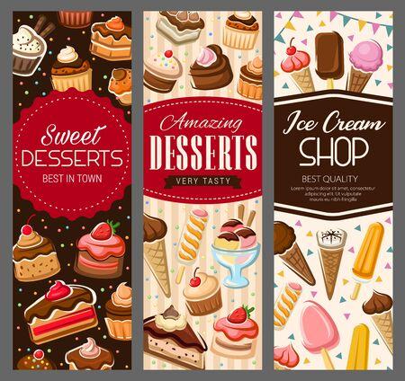 Desserts, Kuchen und Gebäck süße Cupcakes, Patisserie-Banner. Vector Konditorei Kekse, Eis, Waffeln und Waffeln mit Erdbeermarmelade oder Kirschmarmelade, Muffin und Käsekuchen