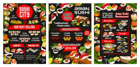 Japanese sushi bar menu, Asian cuisine food and sashimi rolls buffet. Vector California roll and Philadelphia sushi, temaki and gunkan, fish and seafood futomaki with shrimp tempura and wasabi