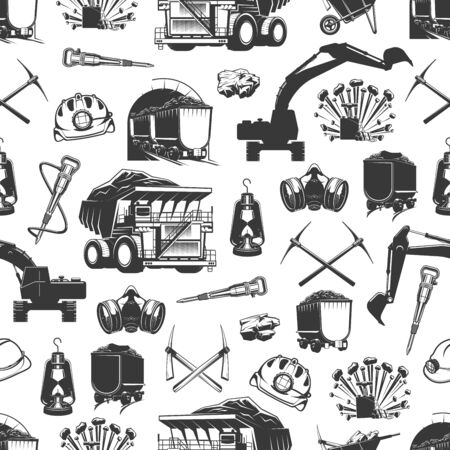 Coal production, mining industry and miner equipment tools seamless pattern. Vector background of machinery excavation bulldozer, miner pickaxe, coal mine dynamite and hammer drill pattern
