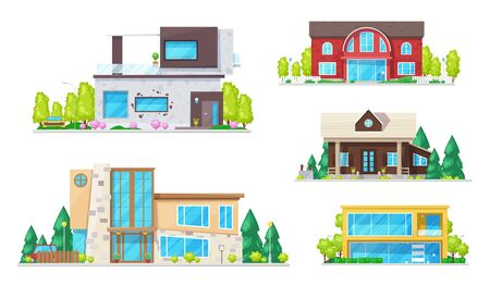 Residential houses, cottage, villas, mansion apartment and bungalow. Vector real estate building icons. Modern family cottage houses or villa apartments, urban property with trees, terraces and garage