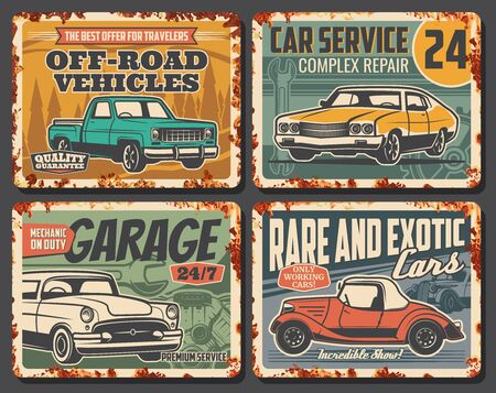 Car service, mechanic maintenance and automobile repair rusty metal plates. Vector old rare vintage cars service and rental, off-road vehicles diagnostics and auto transport repair garage station