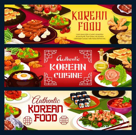 Korean restaurant menu, authentic traditional Korea cuisine food. Vector Korean cafe menu, kimchi, rice and spicy noodles, beef bulgogi soup and kibimpap rolls, seafood and seaweed plate meals
