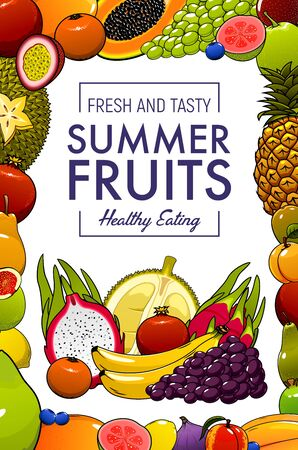 Tropical fruits, farm market organic natural healthy food. Vector exotic summer fruits harvest, banana and papaya, grape and tangerine, pineapple, pithaya dragonfruit and apricot, guava and jackfruit