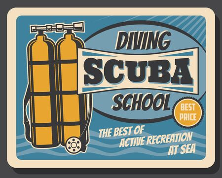 Scuba diving school, summer sea active recreation sport club vintage retro poster. Vector professional scuba diving equipment and underwater snorkeling sport accessories, diver oxygen balloons Banque d'images - 137930642