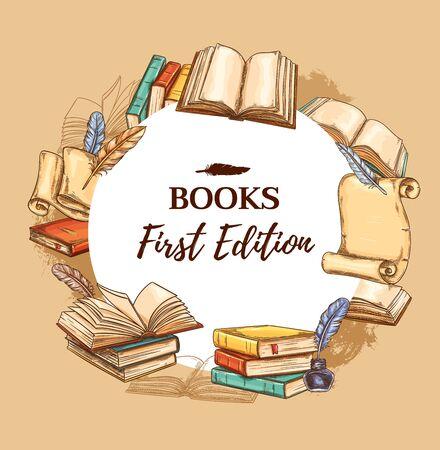 Affiche de croquis de librairie, foire aux livres vintage et festival de littérature. Édition de librairie vectorielle, poèmes et romans anciens, rouleaux de papier anciens avec encre rétro et plume d'écrivain
