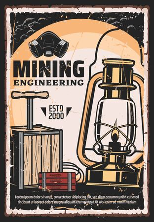 Mining, coal extraction and mine excavation engineering vintage retro poster. Vector mining industry professional equipment tools, cave dynamite, miner lantern gas lamp and respirator mask Illustration