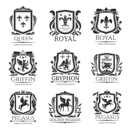 Heraldic shields, heraldry Medieval animals and royal floral emblems. Vector Pegasus horse, Griffin lion with eagle wings, imperial crown, floral wreath and fleur de lys coat of arms shield
