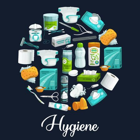 Circle of hygiene products. Vector icons of soap, shampoo, toothbrush and toothpaste, sponge, washing powder and toilet paper, shaving foam, shaver and napkin, wet wipe, cotton swab and manicure tool