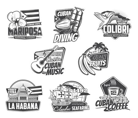 Cuba Havana travel, Caribbean cuisine food cafe and Cuban coffee sign. Vector sea diving sport club, ocean journey trips, welcome to Havana, banana package label and restaurant icon