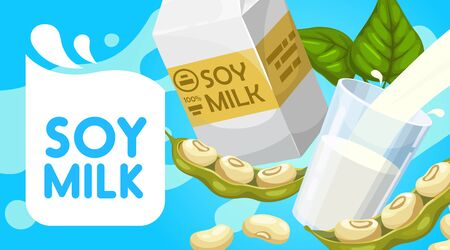 Soy milk poster, soya dairy drink paper box package, glass and splash. Vector organic vegan product, healthy natural nutrition, soybean protein nutrition beverage Stock Illustratie