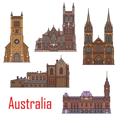 Australia architecture, Sydney, Adelaide and Melbourne city buildings and landmarks. Vector St Peter and Francis Xavier cathedral, Melbourne town hall and Adelaide old parliament, Holy Trinity church