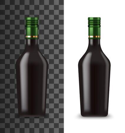 Cream liquor bottle realistic 3d mockup template. Vector isolated blank black bottle of drink with green cap, Irish liquor premium alcohol beverage, bar menu symbol