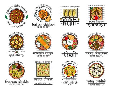 Indian restaurant menu icons, traditional India authentic cuisine food and cafe signs. Vector Indian meal vegetarian vegetables, desserts and curry rice, tandoori meat and fish, pastry and naan bread Çizim