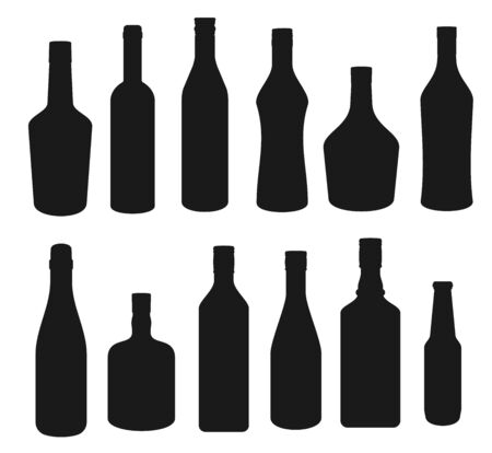 Alcohol drinks bottles silhouette icons, beverages bar menu symbols. Vector isolated vodka, Irish or Scotch whiskey and wine, cognac with absinthe, tequila and bourbon or beer bottles