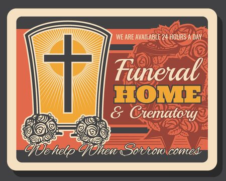 Funeral service company, crematory and burial ceremony organization agency vintage retro poster. Vector Christianity crucifixion cross on tombstone, RIP ribbons and funeral flowers wreath