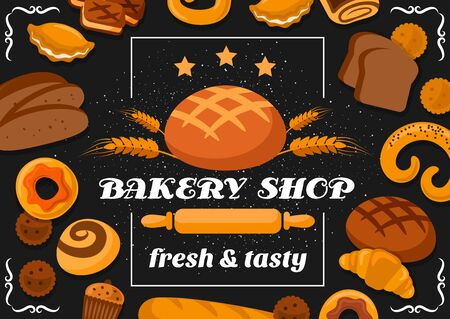 Bakery shop bread, pastry cakes and patisserie desserts cookies. Vector bakery premium quality stars, sweet croissants and wheat bagel with rye loaf, buns, cream pies and cupcakes poster Ilustração