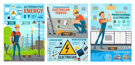 Électricien, service d'ouvrier électrique sur la réparation de l'électricité de la centrale et de la maison. Vector électricien ingénieur homme et outils de travail, lampe à ampoule, câbles de ville et installation de batterie solaire, Vecteurs