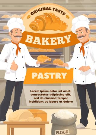 Bakery shop and baked bread, desserts and pastry sweet cookies. Vector baker man in chef hat at kitchen oven cooking patisserie cakes, croissants, wheat flour bag and rye dough