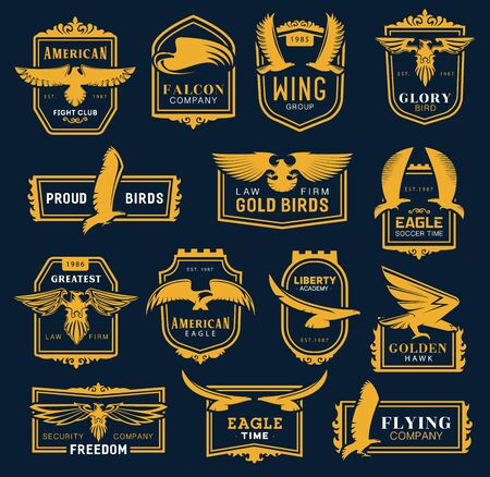 Heraldic golden eagle and hawk icons, business corporate identity signs. Vector hawk and eagle head and wings heraldry, aviation academy, fight club and soccer league, law and security brand symbol Stock Illustratie