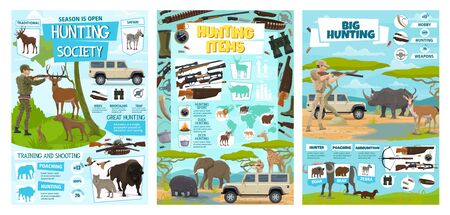 Hunting equipment and hunt animals infographic diagrams and information statistics. Vector African safari hunt wild animals and hunter ammo, open season trophy shooting training club  イラスト・ベクター素材