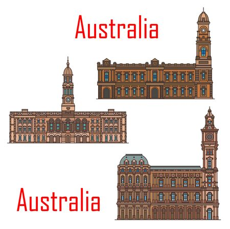 Australia architecture, Adelaide and Melbourne municipal city buildings and historic landmarks. Vector Adelaide town hall and Melbourne general post office detailed facades Çizim