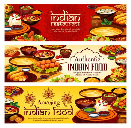 Indian restaurant menu, traditional India cuisine food banners. Vector Indian meal banners, vegetarian vegetables with curry rice, meat and fish with masala tandoori plate
