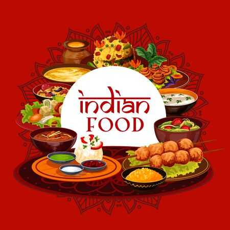 Indian traditional food, India authentic cuisine restaurant menu. Vector Indian meal dishes, vegetarian pulao and bananas in butter, murgs badams shorba soup, lemon with cashew and rice in mint sauce Illustration