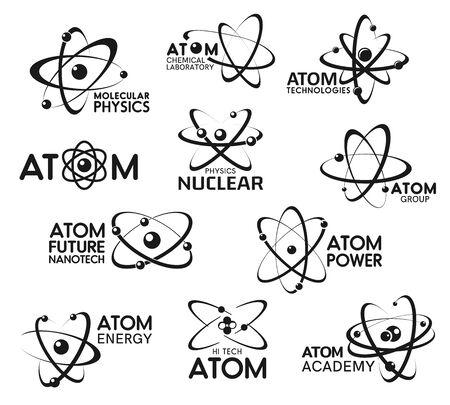 Atomsymbole, Molekulartechnologie und Atomphysik-Zeichen. Vektorchemisches Labor, Atomwissenschaft und Nanotech-Forschungssymbole, Nuklearphysik-Akademie, Atomkraft- und Energieunternehmen