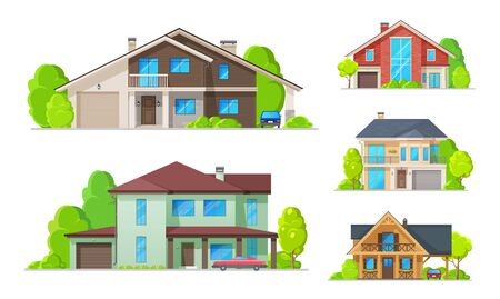 Private real estate buildings and residential houses, modern family homes. Vector cottage houses or villa apartments, urban property, with terrace, garden yard and carport garages architecture