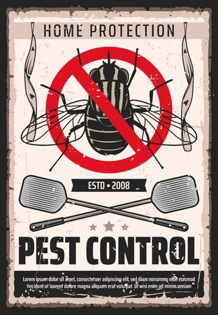 Fly insects pest control service, domestic bugs and moths extermination and home disinsection vintage retro poster. Vector flies fumigation, flypaper and swatter pest control and disinsection