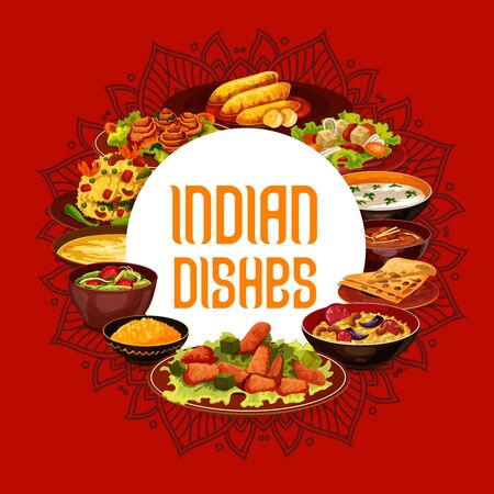 Indian cuisine food dishes, India restaurant menu and authentic cooking recipe book cover. Vector Indian traditional meals vegetables, meat and rice, curry masala spices, soups and vegetarian salads Çizim