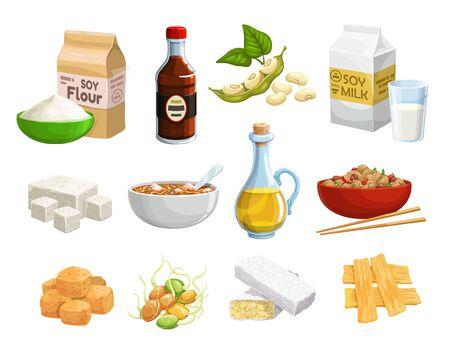Aliments à base de soja et produits végétaliens, nutrition naturelle saine et biologique. Produits alimentaires à base de soja vectoriel, viande et fromage, lait et huile, germes de soja, beurre et farine, peau de tofu et ingrédients alimentaires végétaliens