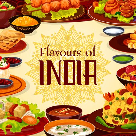 Indian restaurant menu, authentic traditional India cuisine food. Vector Indian cafe menu, breakfast, dinner and lunch meals, curry vegetables in masala spices, rice and meat skewers, soups and salads Banque d'images - 137824781