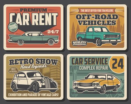 Car service, auto mechanic maintenance and automobile repair retro poster Vector old rare cars motor show, travel off-road vehicles rental, diagnostics and transport repair garage station Ilustracja